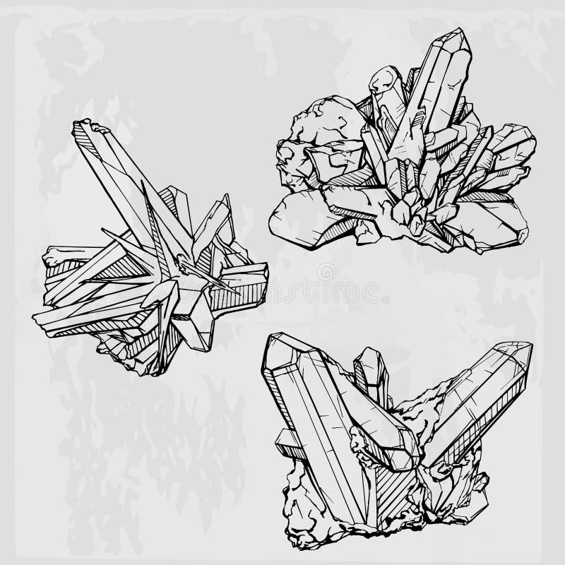 Hand drawing crystal gems. Geometric gemstone vector illustration