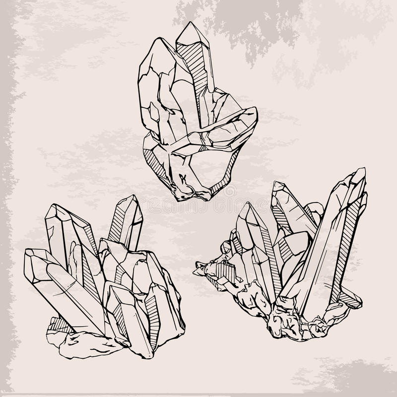 Hand drawing crystals set royalty free illustration