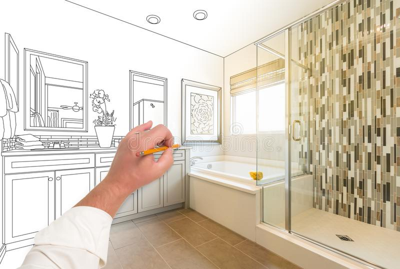 Hand Drawing Custom Master Bathroom with Cross Section stock photos