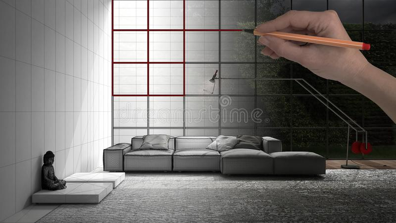 Hand drawing custom modern minimalist living room with big window in the background. Tailored unfinished project architecture inte. Rior design stock illustration