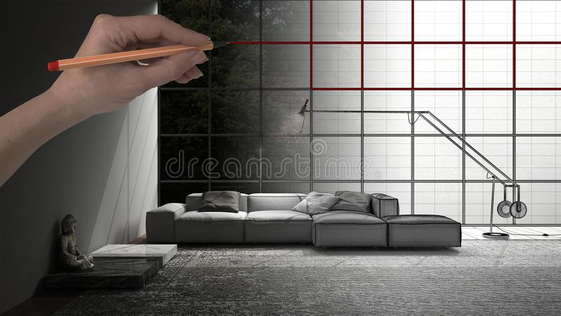 Hand drawing custom modern minimalist living room with big window in the background. Tailored unfinished project architecture inte. Rior design royalty free illustration