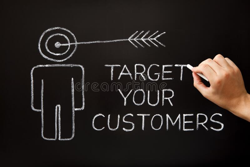 Target Your Customers Drawn Concept On Chalkboard royalty free stock images