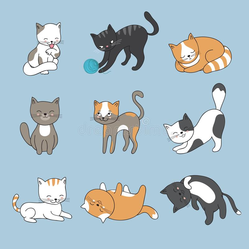 Hand drawing cute cats. Vector kitty collection royalty free illustration