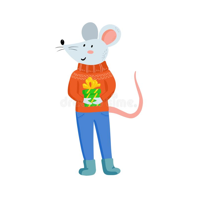 Free Hand Drawing Cute Christmas Mice In Cozy Clothes. Royalty Free Stock Photography - 165816437