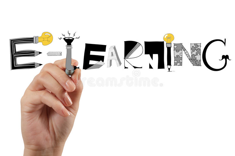 Hand drawing design graphic handdrawn E-LEARNING stock image
