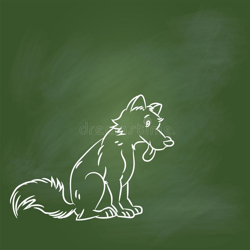 Hand drawing Dog Cartoon on Green board -Vector illustration stock illustration