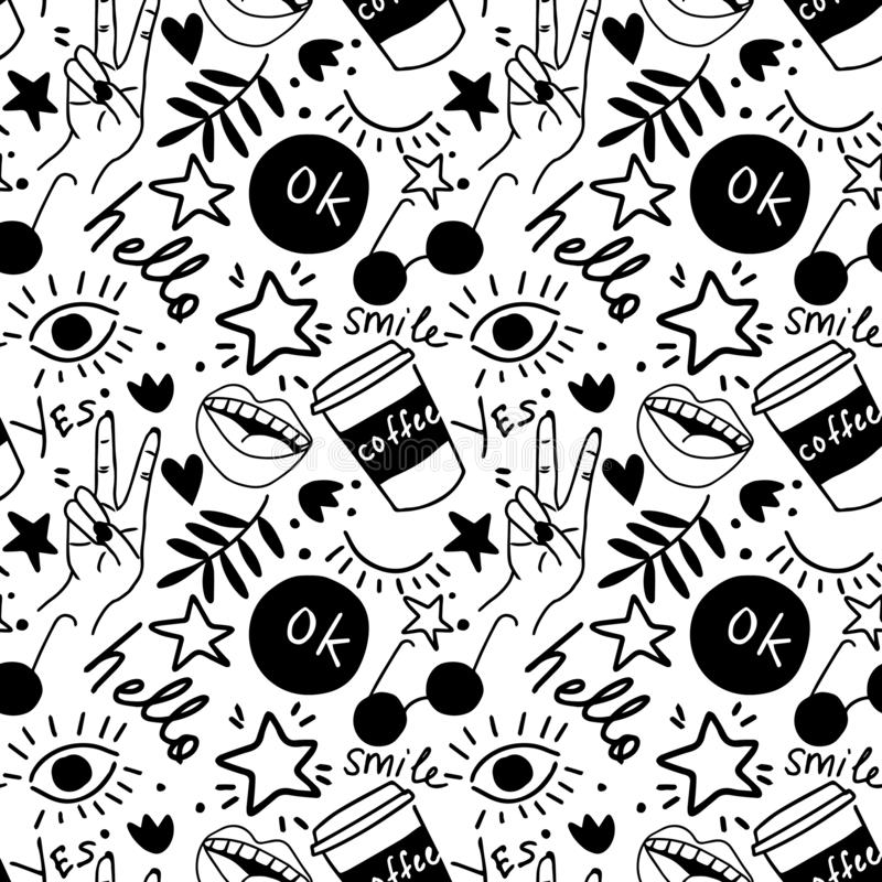 Hand drawing doodles.Seamless pattern with hand phrases and symbols. Vector seamless background. royalty free illustration