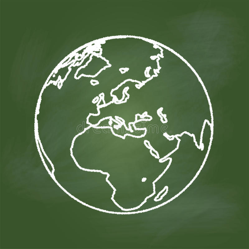 Hand drawing Earth on Green board, Europe, Asia and Africa -Vector illustration royalty free illustration