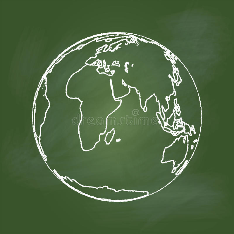 Hand drawing Earth on Green board -Vector illustration royalty free illustration