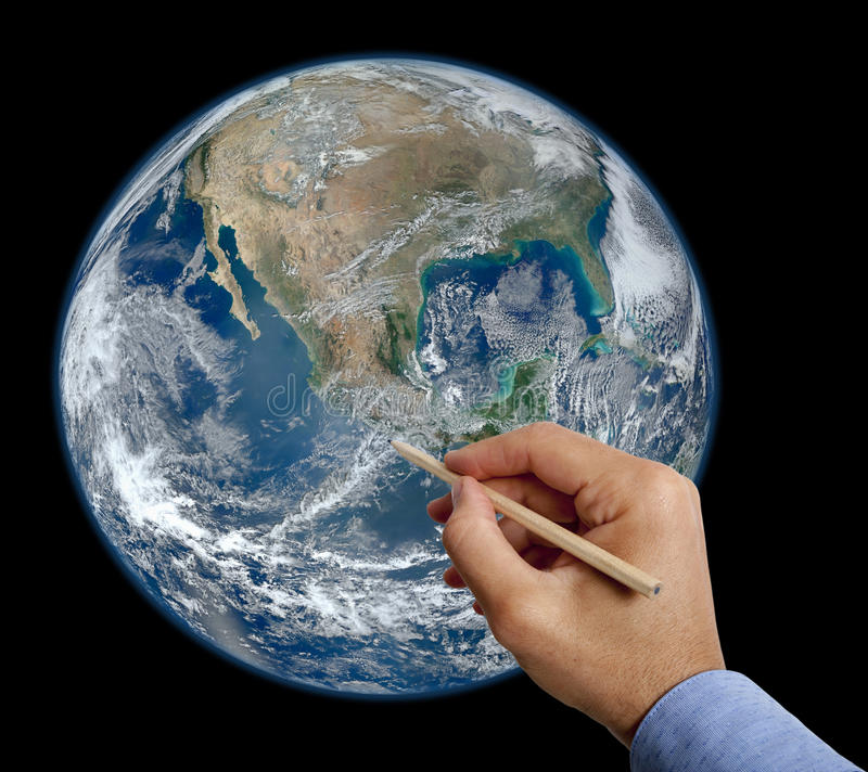 Hand drawing earth with pencil royalty free illustration