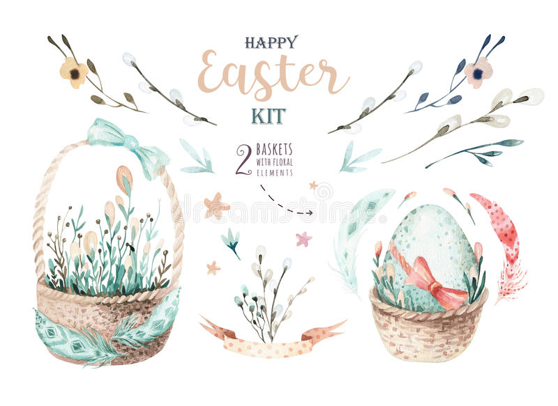 Hand drawing easter watercolor basket with leaves, branches and stock illustration