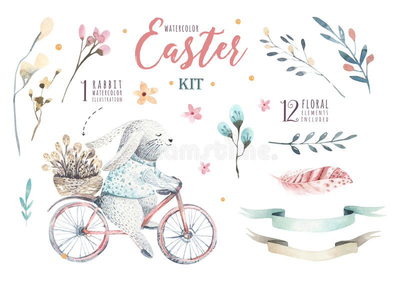 Hand drawing easter watercolor cartoon bunnies with leaves, bran royalty free illustration