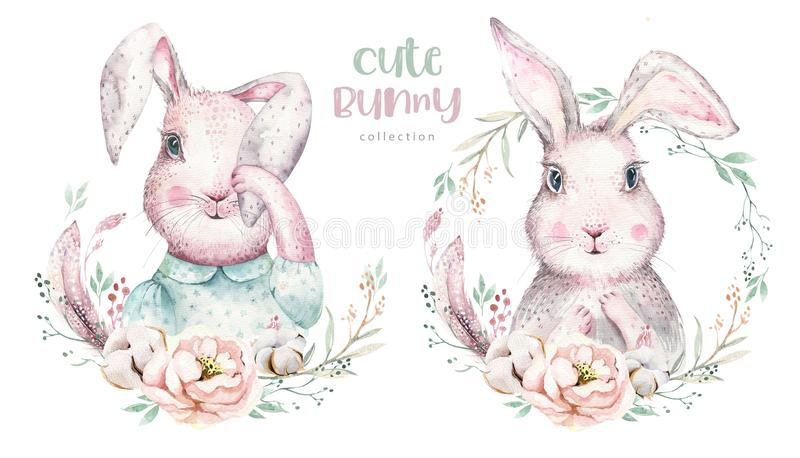 Hand drawing easter watercolor cartoon bunnies with leaves, branches and feathers. indigo Watercolour rabbit holiday vector illustration