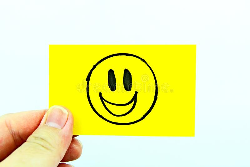 Hand drawing emoji with emoticon face stock photo