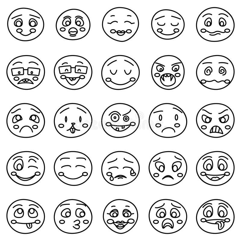 Hand Drawing Of Emoticons Or Vector Doodle Emotional Faces ...
