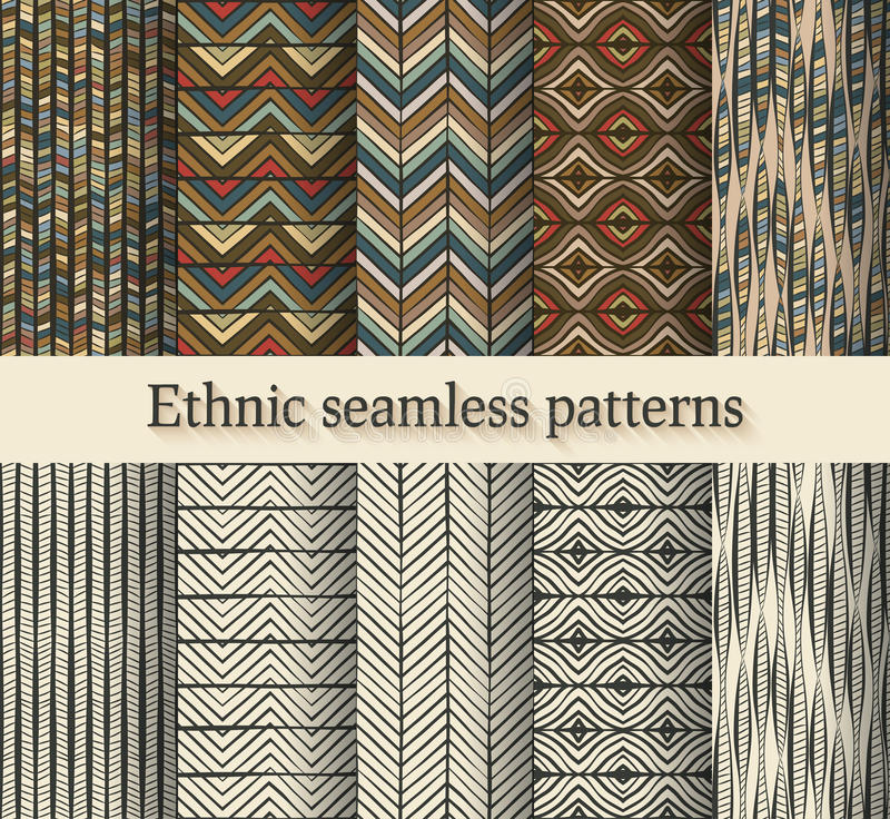 Hand drawing ethnic seamless patterns set royalty free illustration