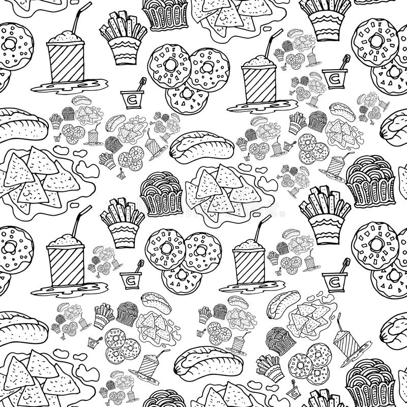 Hand drawing fast food doodles pattern royalty free stock images