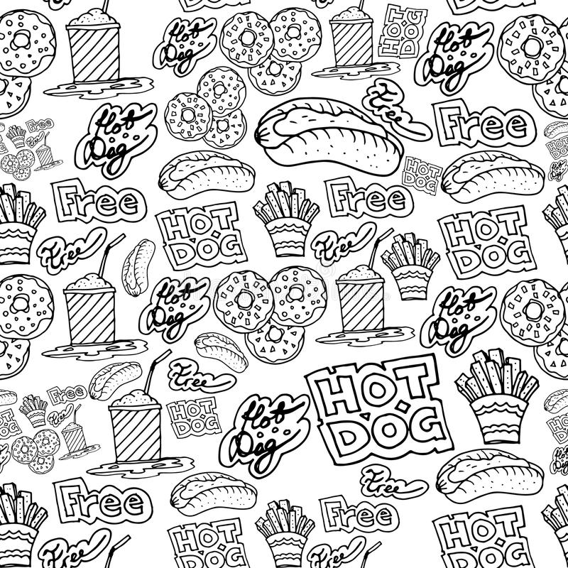 Hand drawing fast food doodles pattern vector illustration