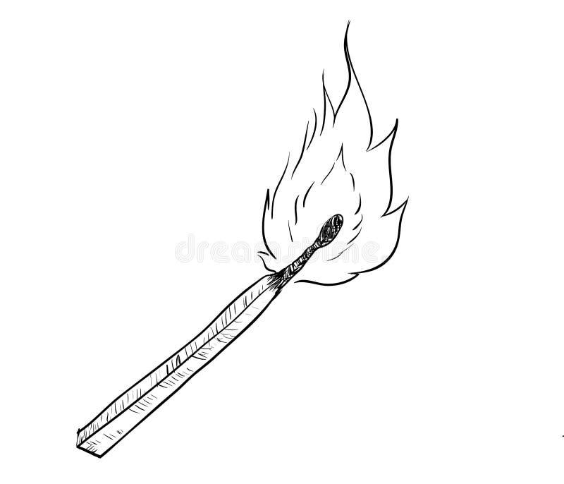 Hand drawing of fire burning Match -Vector Drawn Illustration vector illustration