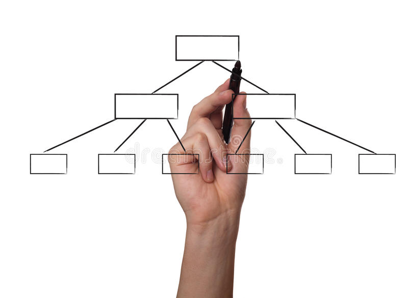 Hand drawing a flowchart on a whiteboard. (focus on the draw royalty free stock photo