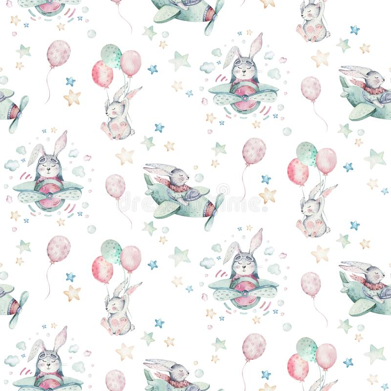 Free Hand Drawing Fly Cute Easter Pilot Bunny Watercolor Cartoon Bunnies With Airplane And Balloon In The Sky Textile Pattern Stock Photography - 135171122