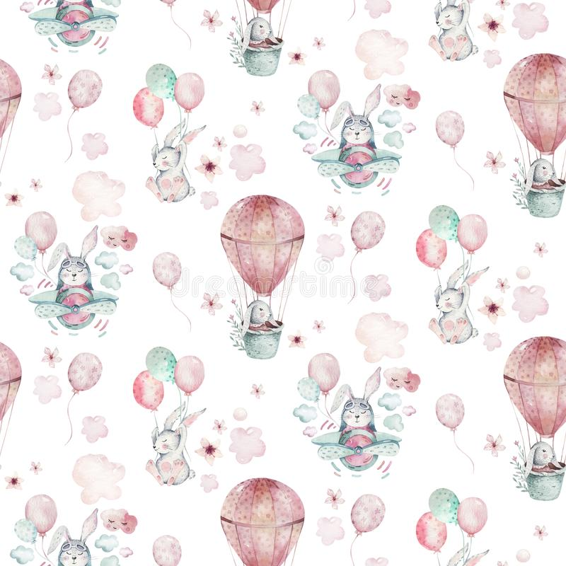 Free Hand Drawing Fly Cute Easter Pilot Bunny Watercolor Cartoon Bunnies With Airplane And Balloon In The Sky Textile Pattern Royalty Free Stock Photos - 135171148