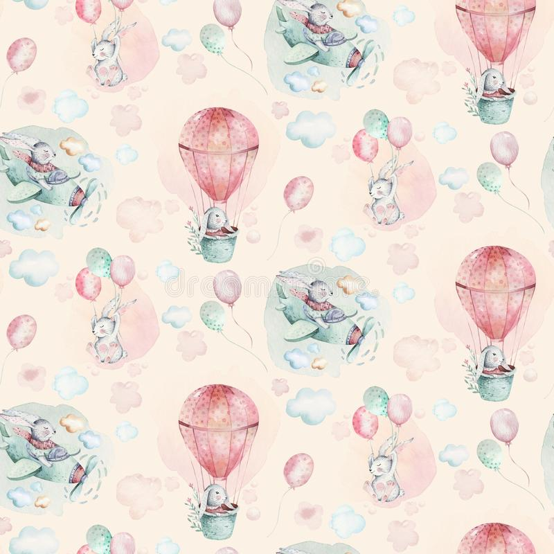 Free Hand Drawing Fly Cute Easter Pilot Bunny Watercolor Cartoon Bunnies With Airplane And Balloon In The Sky Textile Pattern Royalty Free Stock Images - 136490129