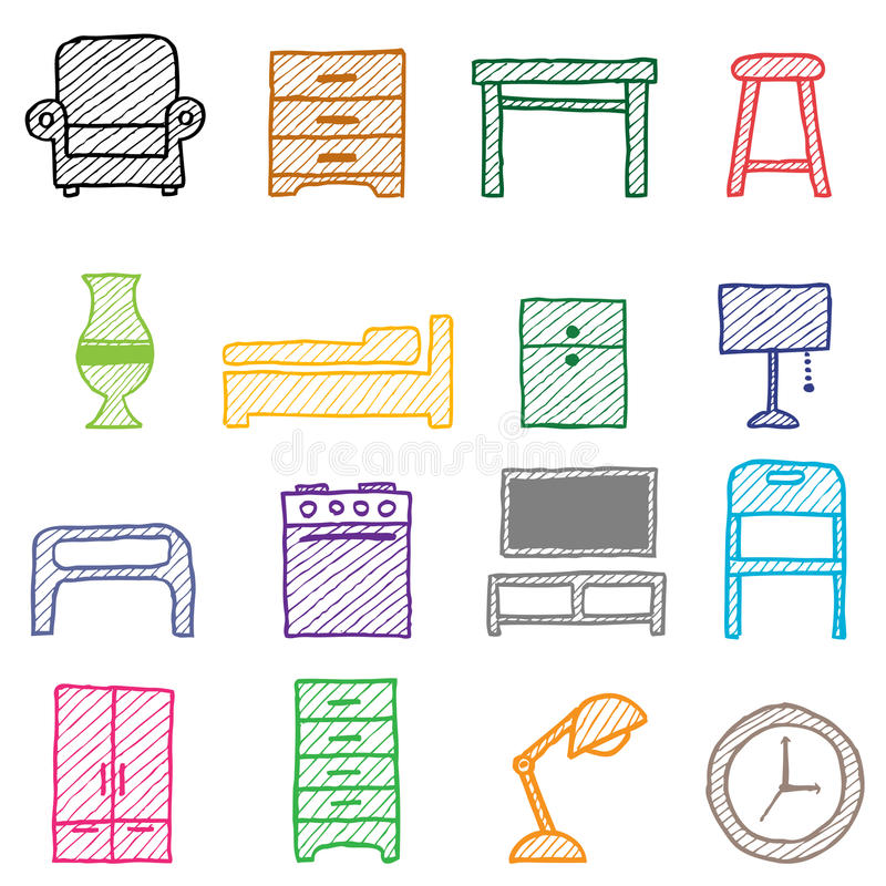 Hand drawing furniture icons stock vector illustration for Furniture drawing software free