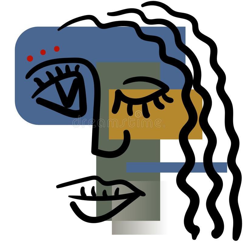 Hand drawing girl face in cubism style. stock illustration