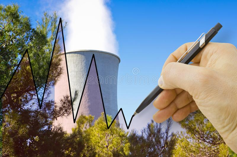Hand drawing a graph about geothermal energy - concept image.  stock images