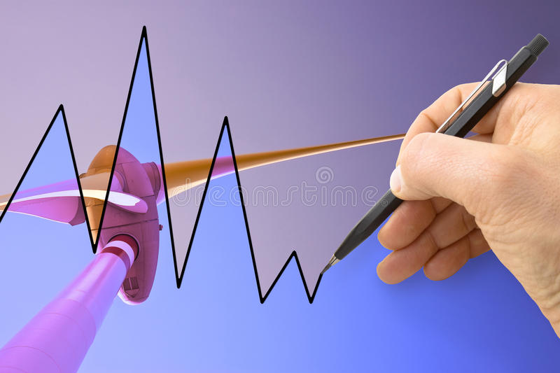 Hand drawing a graph about renewable energies. With wind turbine on background royalty free stock image