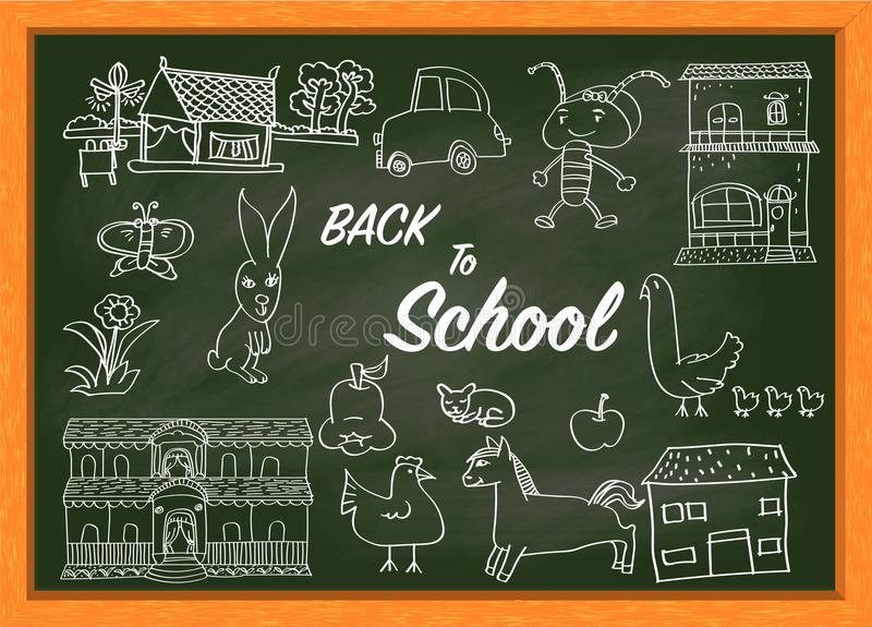 Hand drawing on green chalkboard with text BACK TO SCHOOL-Vector Illustration stock illustration