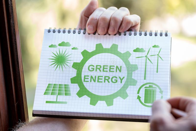 Green energy concept on a notepad royalty free stock images