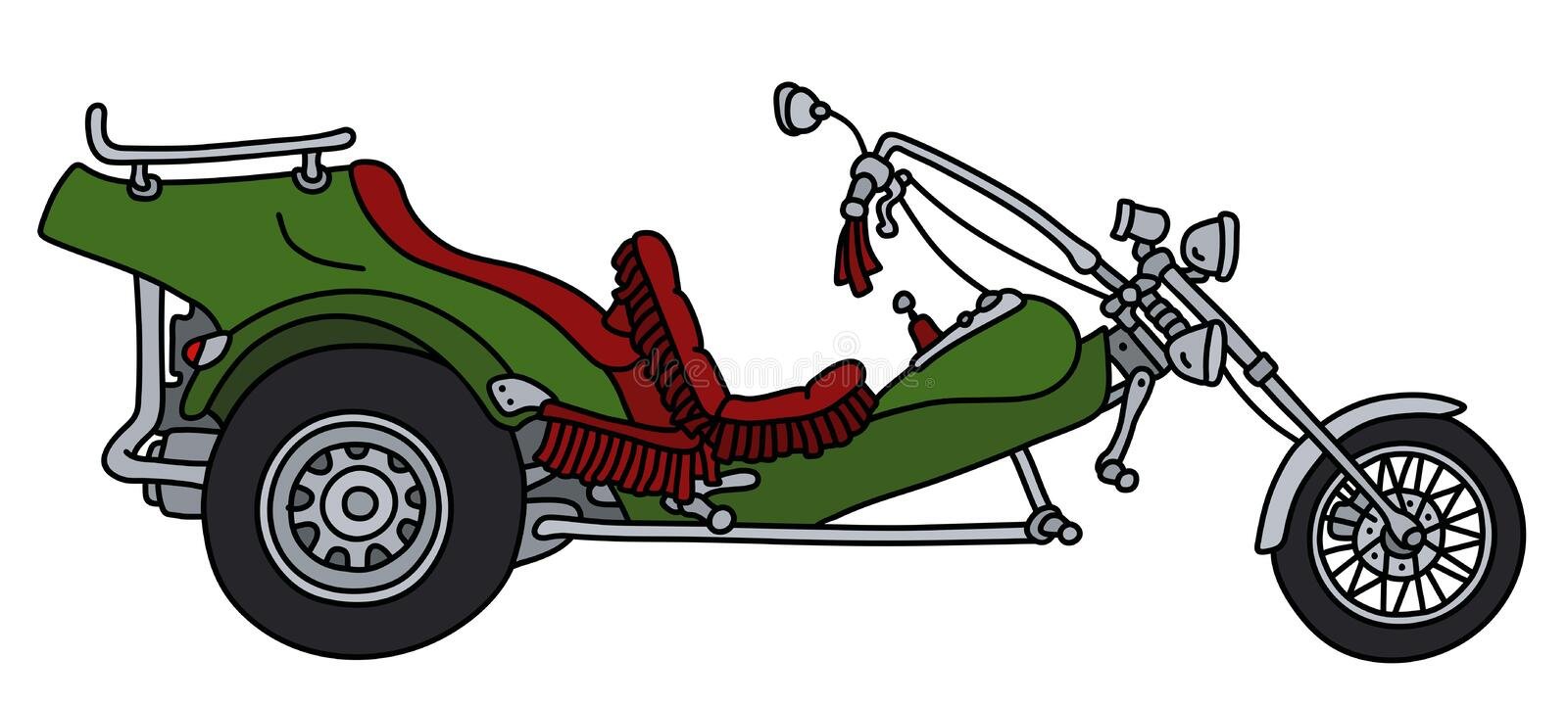 The green heavy motor tricycle. The hand drawing of a green heavy motor tricycle royalty free illustration