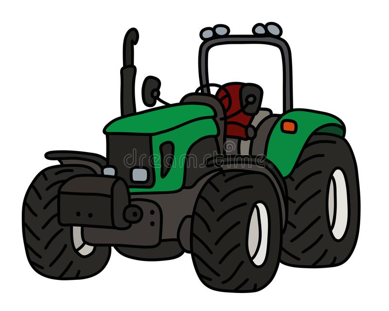 The green open tractor. The hand drawing of a green open heavy tractor vector illustration