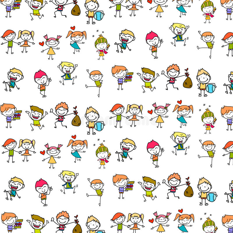 Free Hand Drawing Happy Kids Royalty Free Stock Photography - 44772647