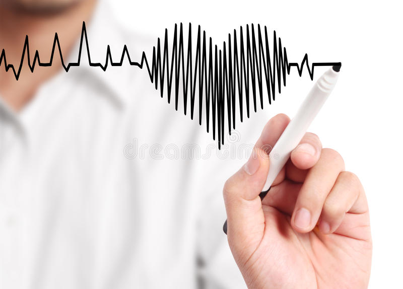 Hand drawing heart marker. Hand drawing a heart marker stock photography