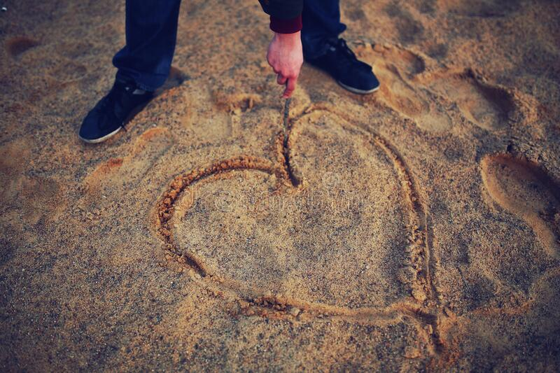 Hand Drawing Heart In The Sand Free Public Domain Cc0 Image