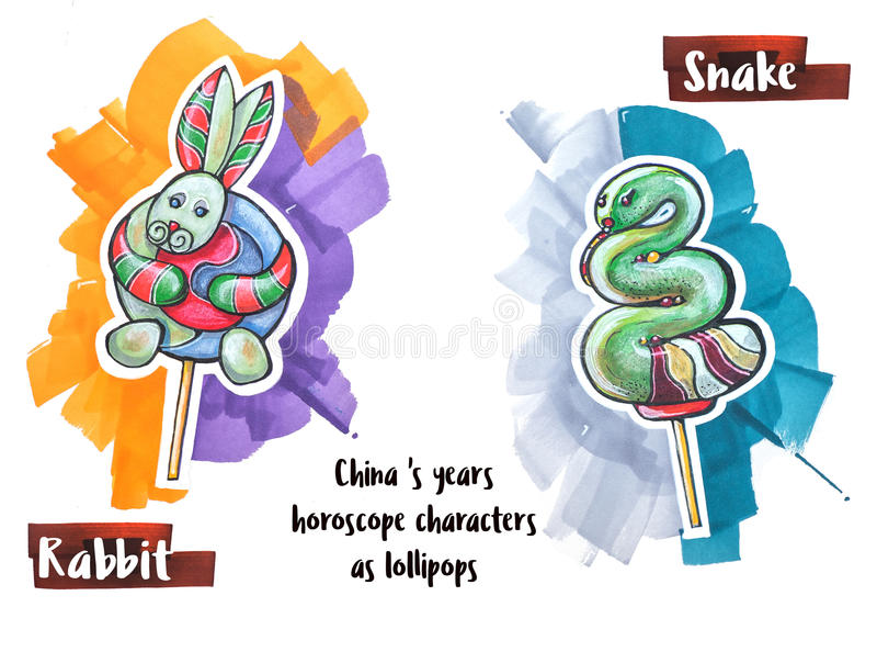 Hand drawing horoscope animal as lollipops royalty free illustration