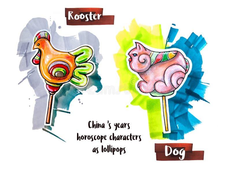 Hand drawing horoscope animal as lollipops stock illustration