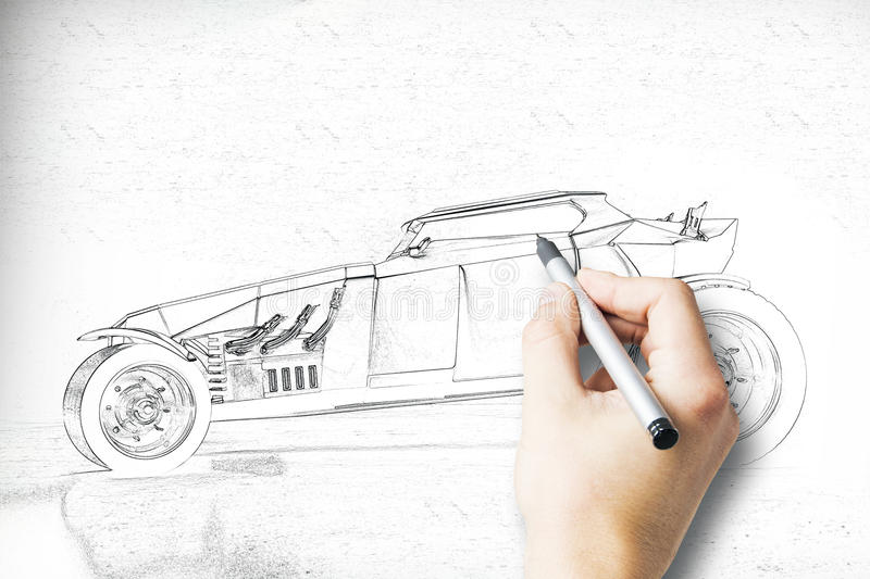 Hand drawing Hot Rod side. Hand drawing Hot Rod car sketch. Side view royalty free stock photography