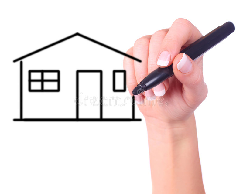 Download Hand drawing a house stock image. Image of drawing, element - 7017493