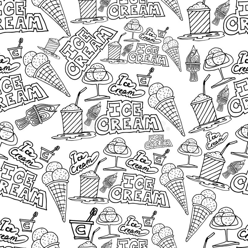 Hand drawing ice cream and cocktails doodles pattern stock illustration