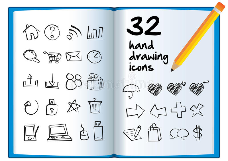Download Hand Drawing Icon On A Big Book With A Pencil. Stock Vector - Image: 31541079