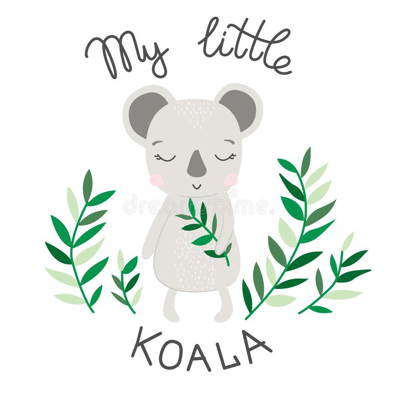 Hand drawing illustration of sweet koala vector stock illustration