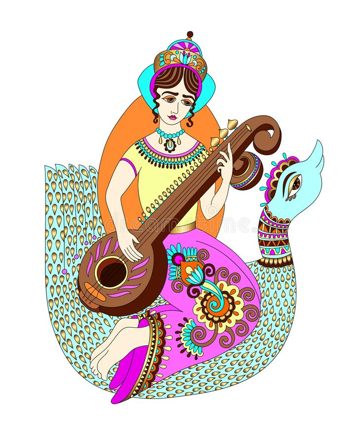 Hand drawing of indian hindu goddess Saraswati. Symbol of knowledge, music, art, wisdom, learning, philosophy, creativity and nature, vector illustration stock illustration