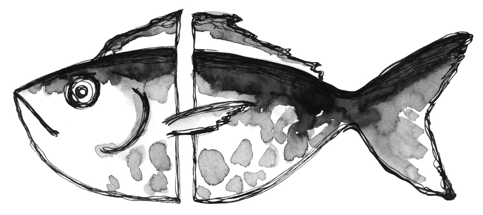 Hand drawing ink and feather black and white abstract fish. Texture spots and stripes royalty free illustration