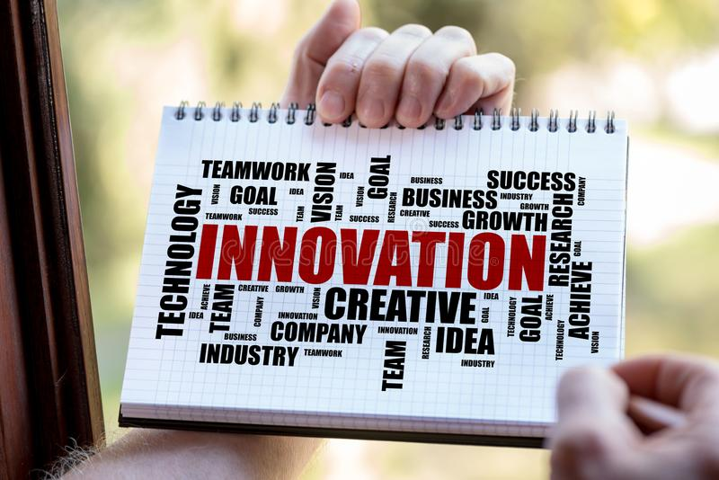 Innovation word cloud concept on a notepad. Hand drawing innovation word cloud concept on a notepad royalty free stock image