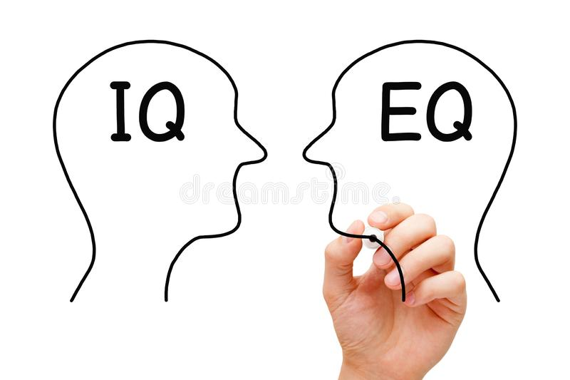 IQ Versus EQ Emotional Intelligence Concept stock photo