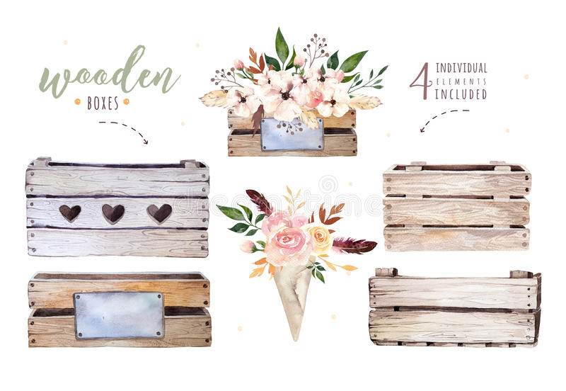 Hand drawing isolated boho watercolor floral illustration with leaves, branches, flowers, wooden box. Bohemian greenery royalty free illustration